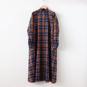 Graphpaper | グラフペーパー [ WOOL CHECK BAND COLLAR DRESS #BROWN CH [GL194-60523] ]