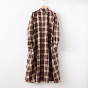 Graphpaper | グラフペーパー [ WOOL CHECK BAND COLLAR DRESS #BEIGE CH [GL194-60523] ]