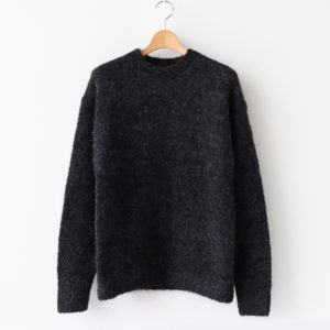ALPACA WOOL SUPER LIGHT KNIT BIG P/O #TOP CHARCOAL [A20AP02AW]