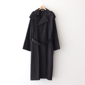 WASHED FINX CUPRO TWILL LONG COAT #BLACK CHAMBRAY [A20AC02FC]