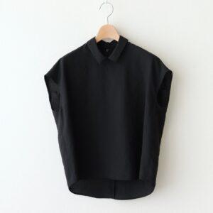 NO CONTROL AIR | ノーコントロールエアー [ NNCSH | シュリンクポリエステル・ブロード ノーカラーセミワイドシャツ #BLACK [AR_NC111SF] ]