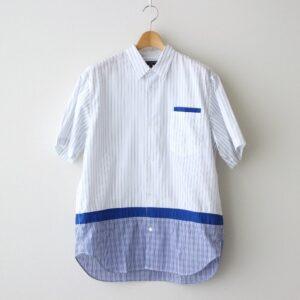 COMME des GARCONS HOMME | コム デ ギャルソン オム [ 綿ストライプ×綿エステルブロード×綿チェック S/Sシャツ #WHITE/BLUE [HG-B032-051] ]